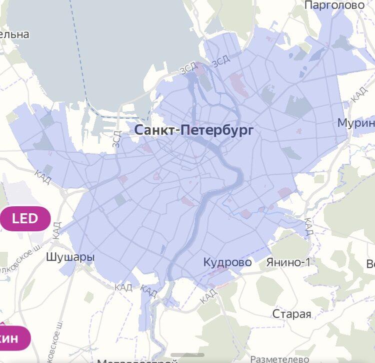 Зона завершения аренды Яндекс Драйв в Санкт-Петербурге