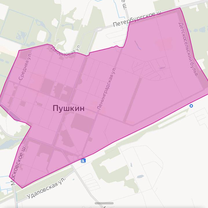 Зона завершения аренды Яндекс Драйв в Пушкине